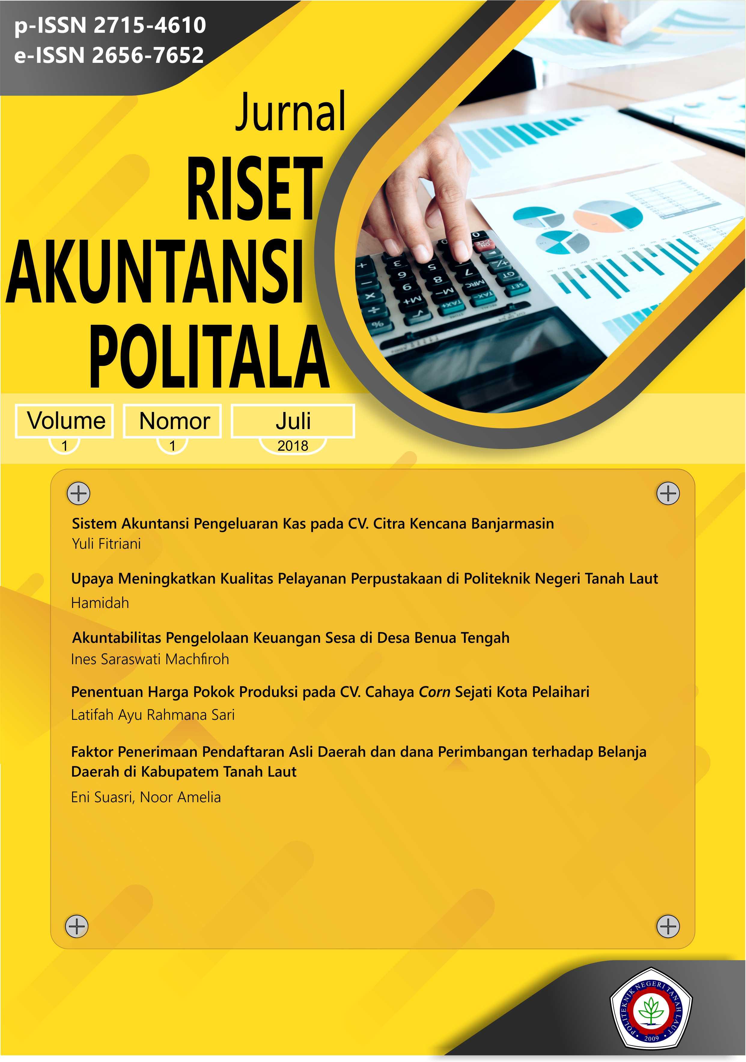 View Vol. 1 No. 1 (2018): Jurnal Riset Akuntansi Politala