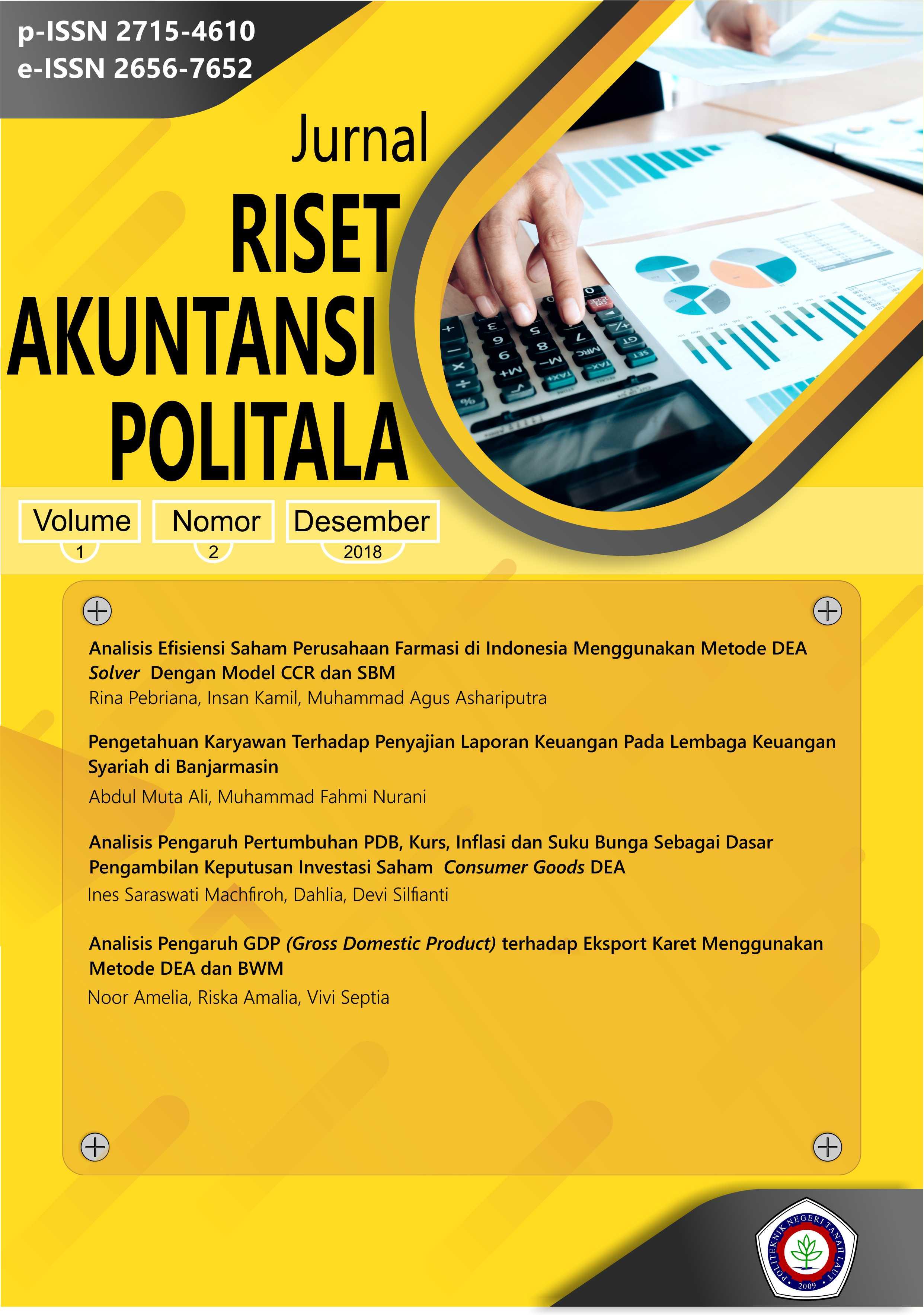 View Vol. 1 No. 2 (2018): Jurnal Riset Akuntansi Politala