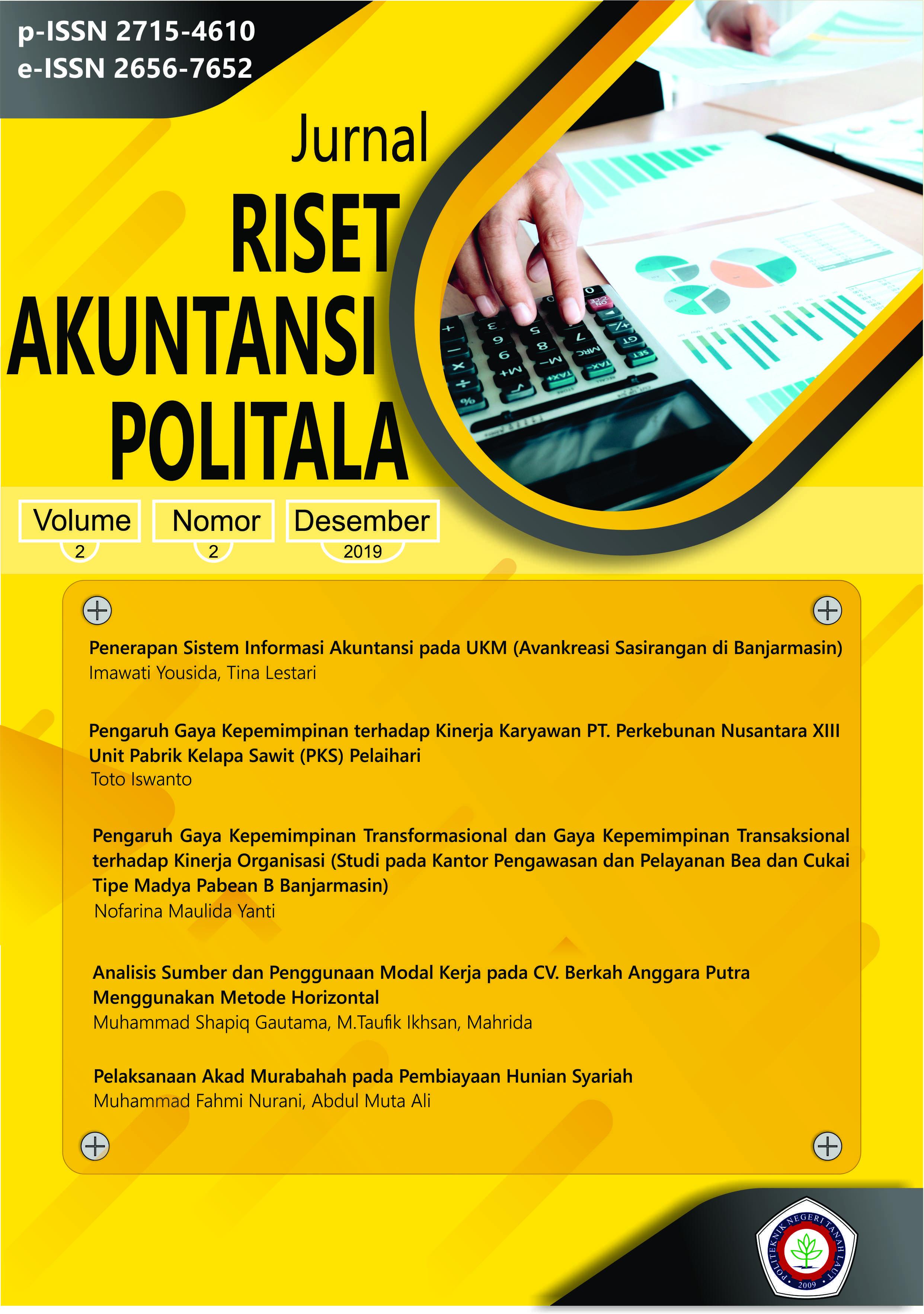 JURNAL RISET AKUNTANSI POLITALA VOL.2, NO.2, OPEMBER 2019