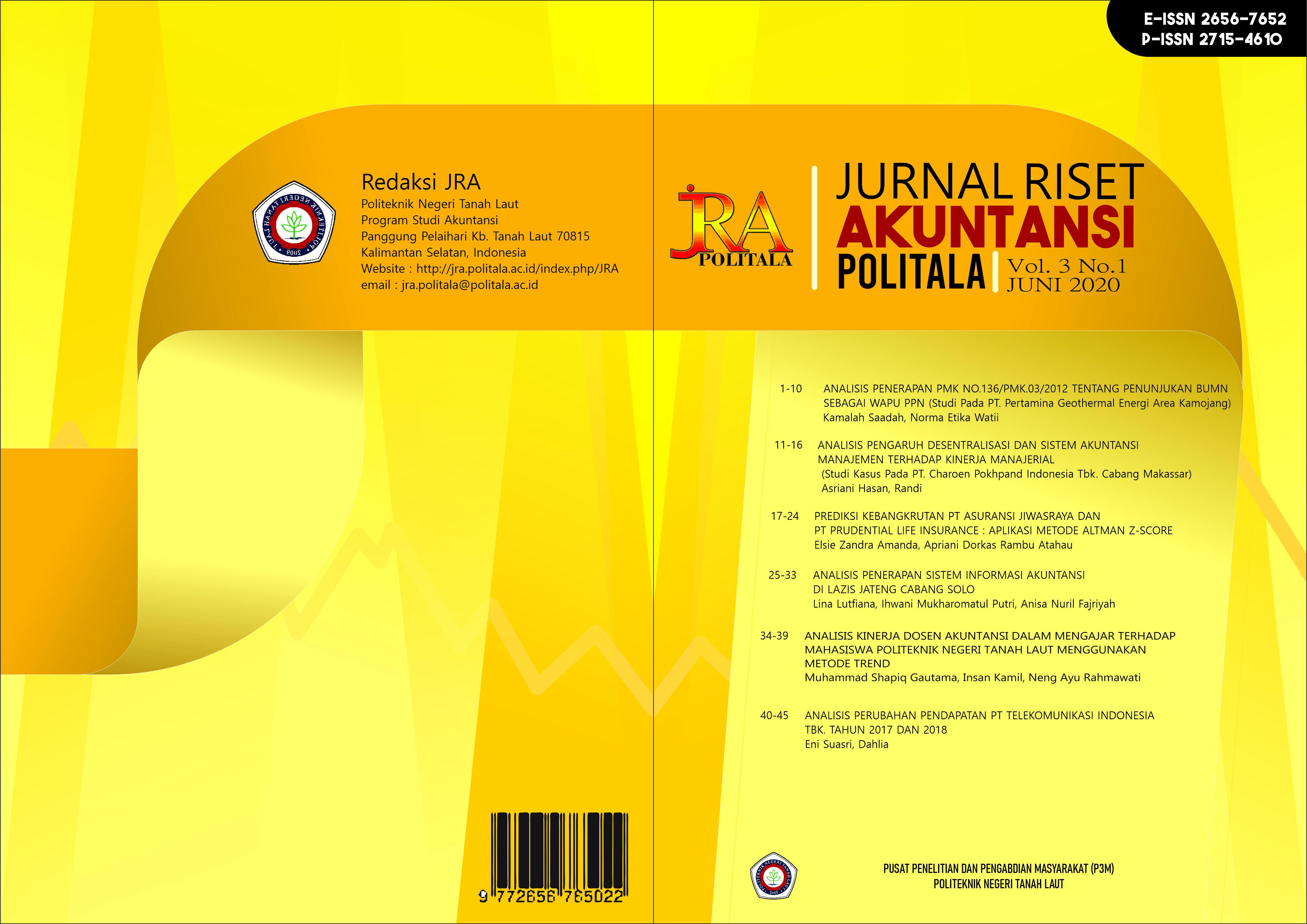 View Vol. 3 No. 1 (2020): Jurnal Riset Akuntansi Politala